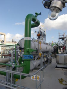 Condenser and subcooler of a chiller in the chemical industry